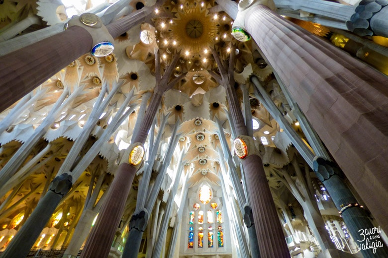 Sagrada Familia Interno Barcellona con bambini