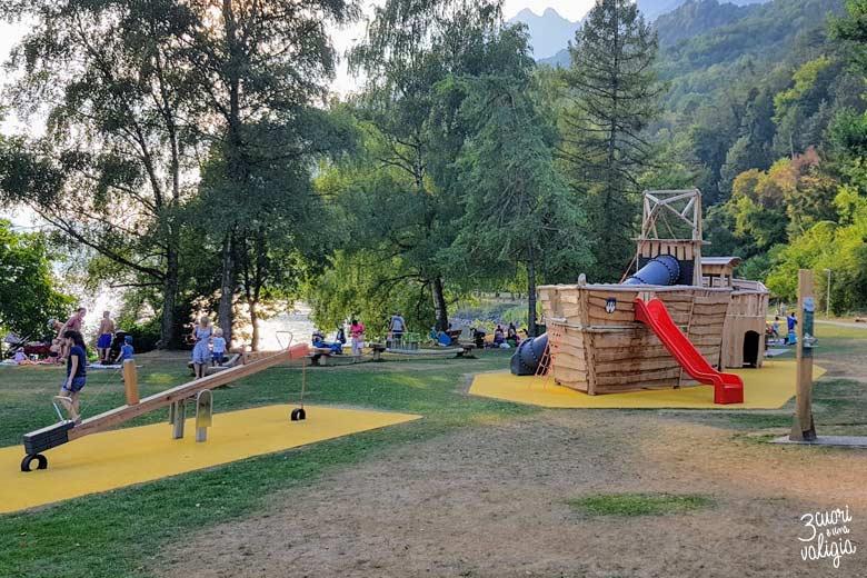 Svizzera - Walenstad, lago di Walen, giochi per bambini
