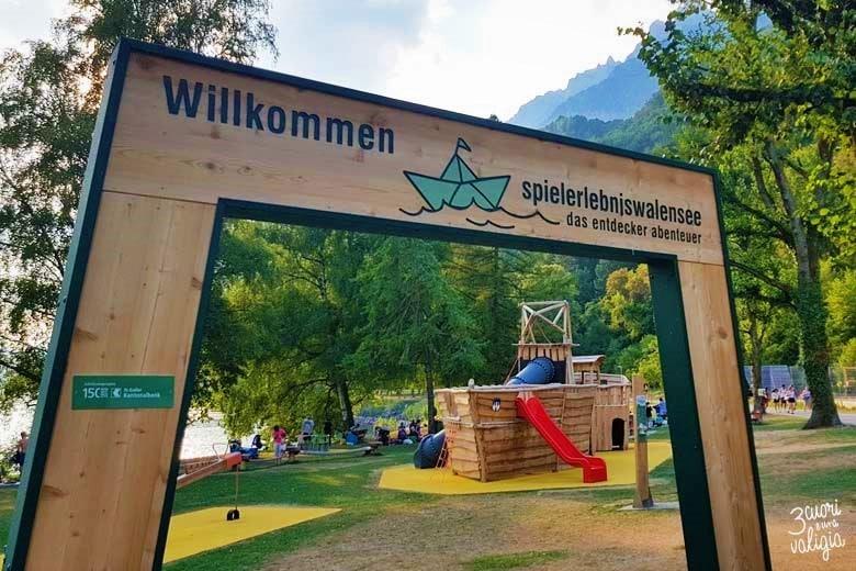 Svizzera - Walenstad, lago di Walen, ingresso giochi per bambini
