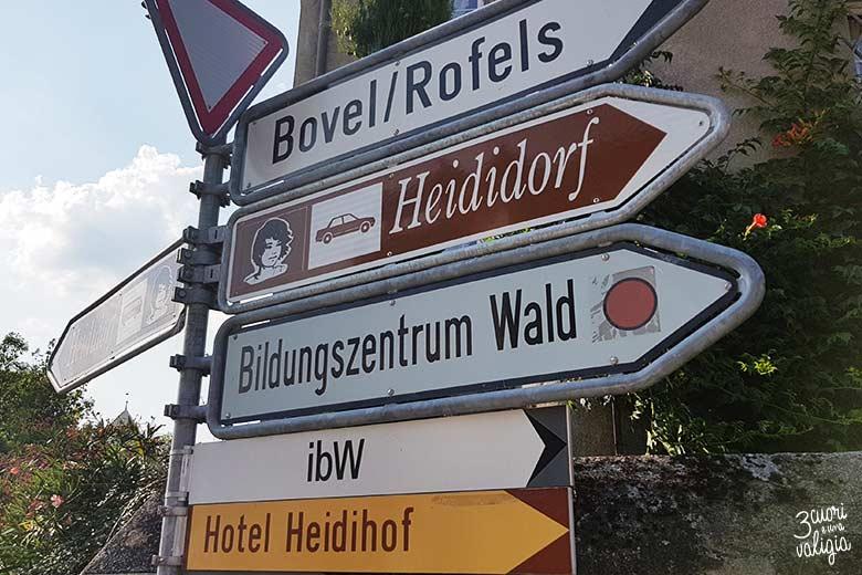 Svizzera - Maienfeld Heididorf indicazioni stradali