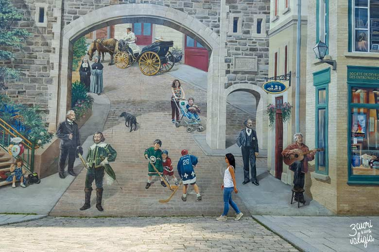 Itinerario Canada orientale con bambini Quebec City mural in lower