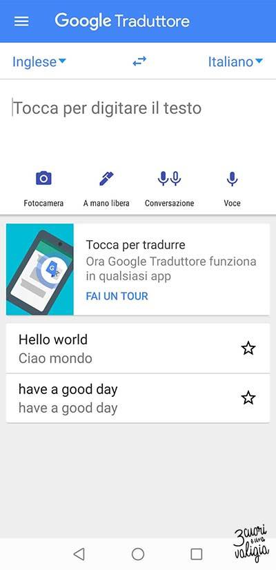 Google traduttore in viaggio